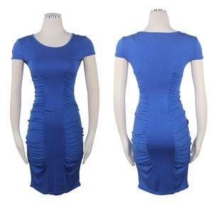 Catherine Malandrino Dress Blue Ruch Bodycon  Midi
